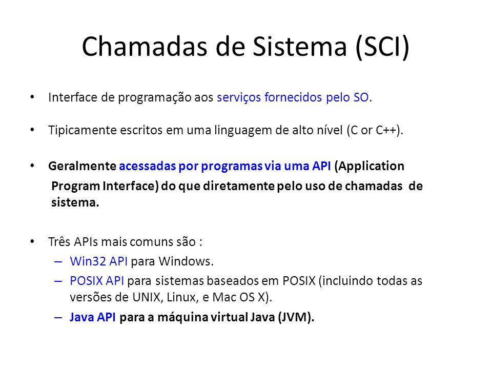Chamadas de Sistema (SCI) Interface de programação aos serviços fornecidos pelo SO. Tipicamente escritos em uma linguagem de alto nível (C or C++). Ge