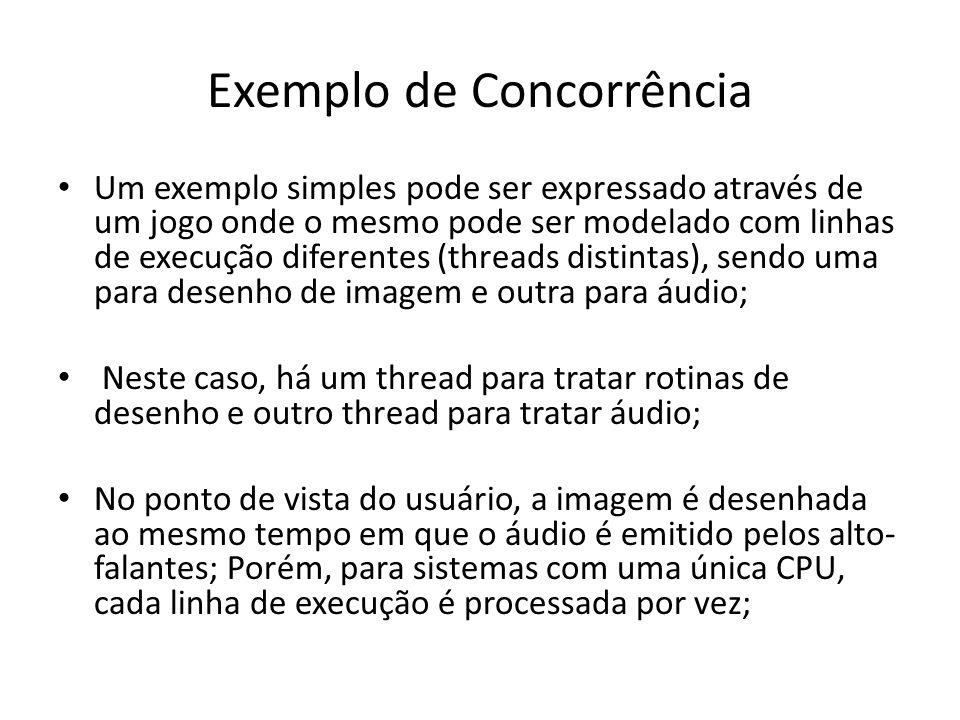 Exemplo de Concorrência Um exemplo simples pode ser expressado através de um jogo onde o mesmo pode ser modelado com linhas de execução diferentes (th