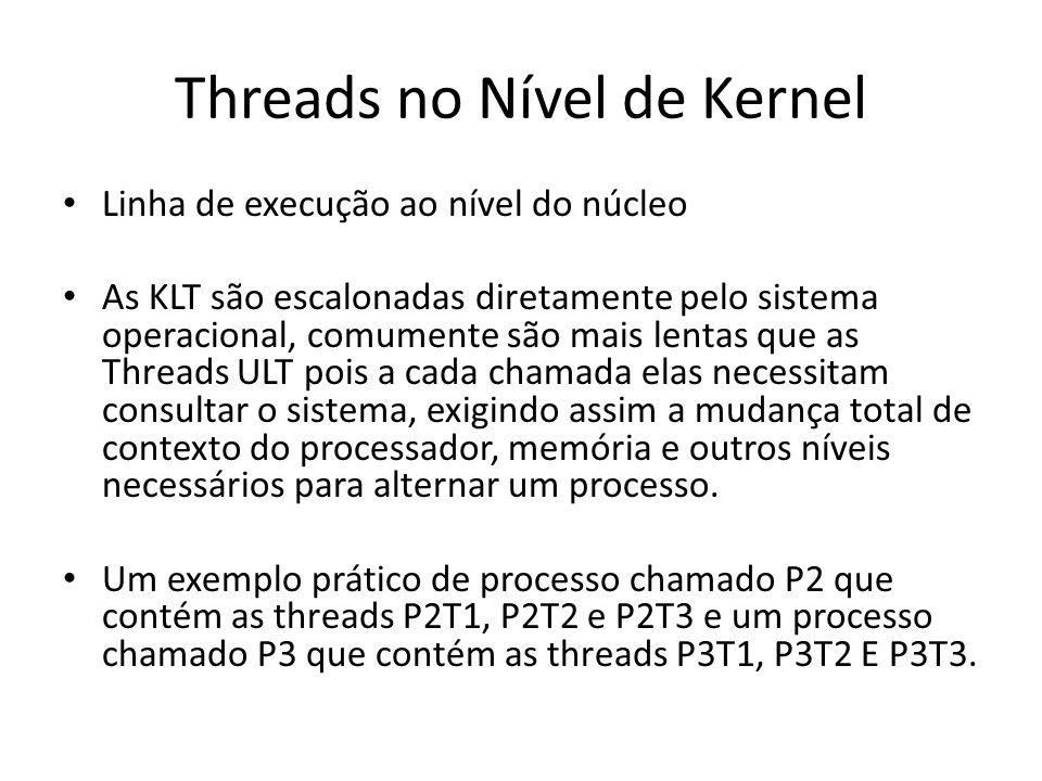 Threads no Nível de Kernel Linha de execução ao nível do núcleo As KLT são escalonadas diretamente pelo sistema operacional, comumente são mais lentas