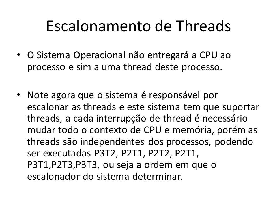 Escalonamento de Threads O Sistema Operacional não entregará a CPU ao processo e sim a uma thread deste processo. Note agora que o sistema é responsáv