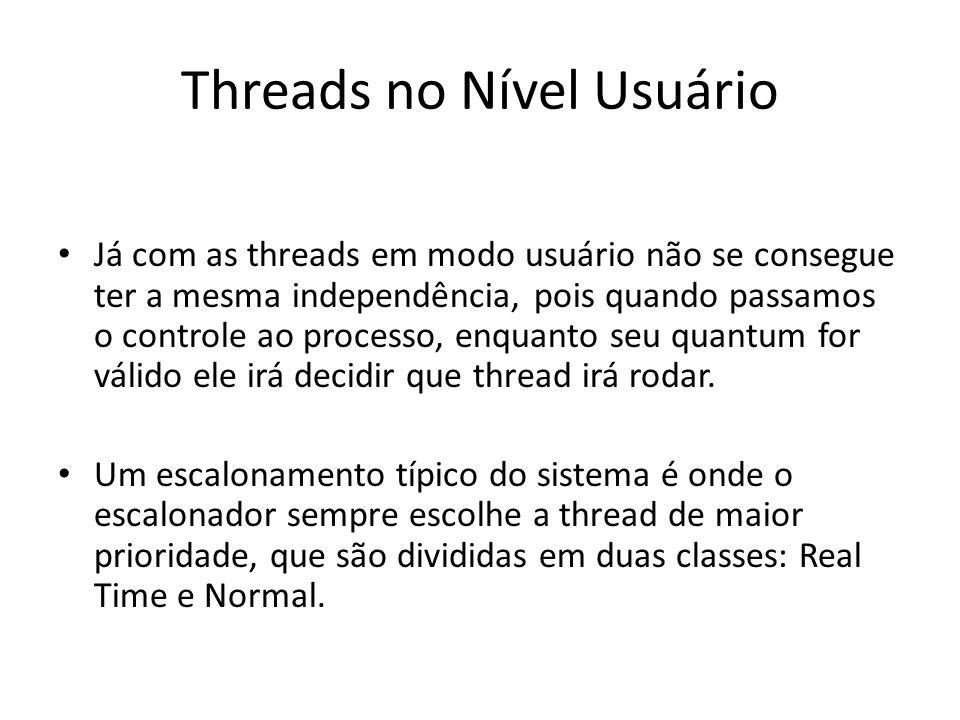 Threads no Nível Usuário Já com as threads em modo usuário não se consegue ter a mesma independência, pois quando passamos o controle ao processo, enq