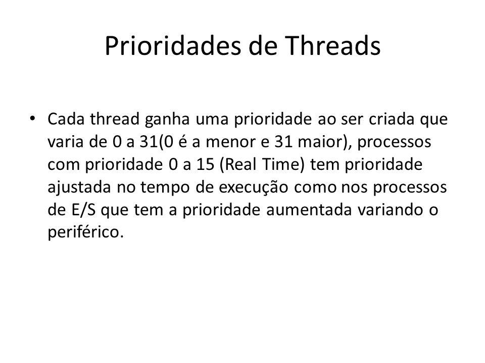 Prioridades de Threads Cada thread ganha uma prioridade ao ser criada que varia de 0 a 31(0 é a menor e 31 maior), processos com prioridade 0 a 15 (Re