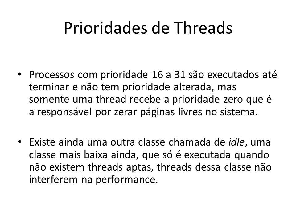 Prioridades de Threads Processos com prioridade 16 a 31 são executados até terminar e não tem prioridade alterada, mas somente uma thread recebe a pri