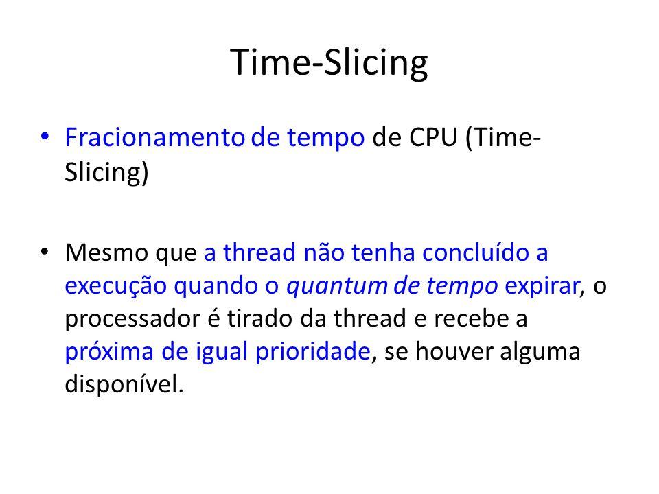 Time-Slicing Fracionamento de tempo de CPU (Time- Slicing) Mesmo que a thread não tenha concluído a execução quando o quantum de tempo expirar, o proc