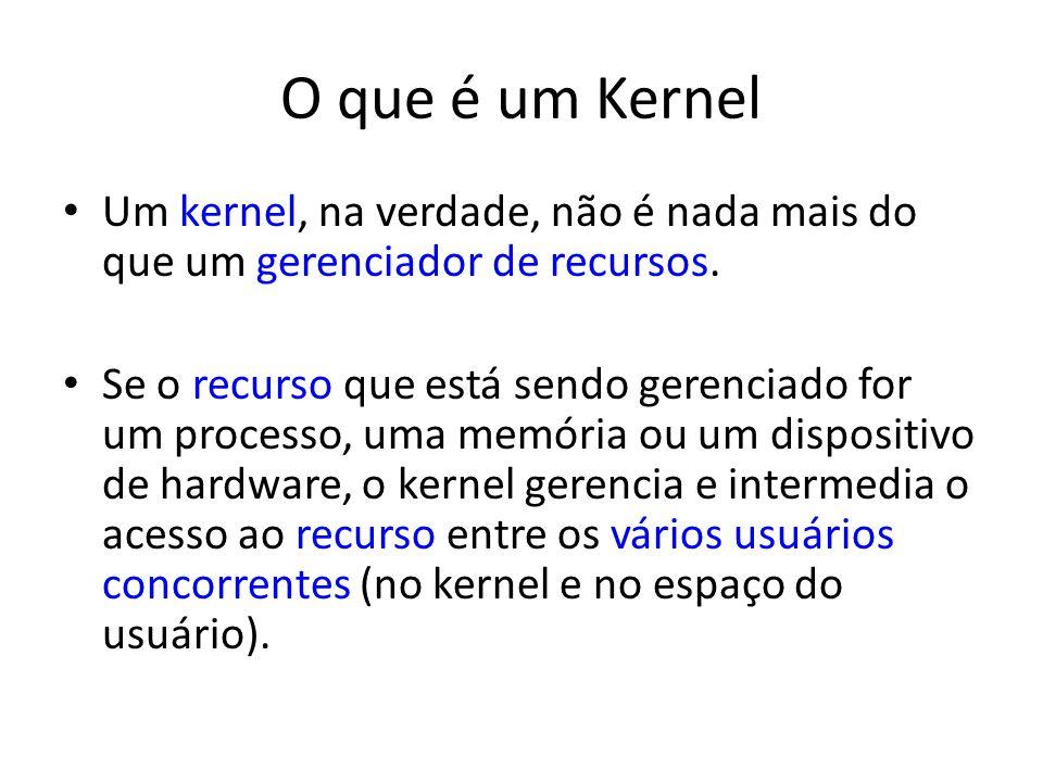 O que é um Kernel Um kernel, na verdade, não é nada mais do que um gerenciador de recursos. Se o recurso que está sendo gerenciado for um processo, um