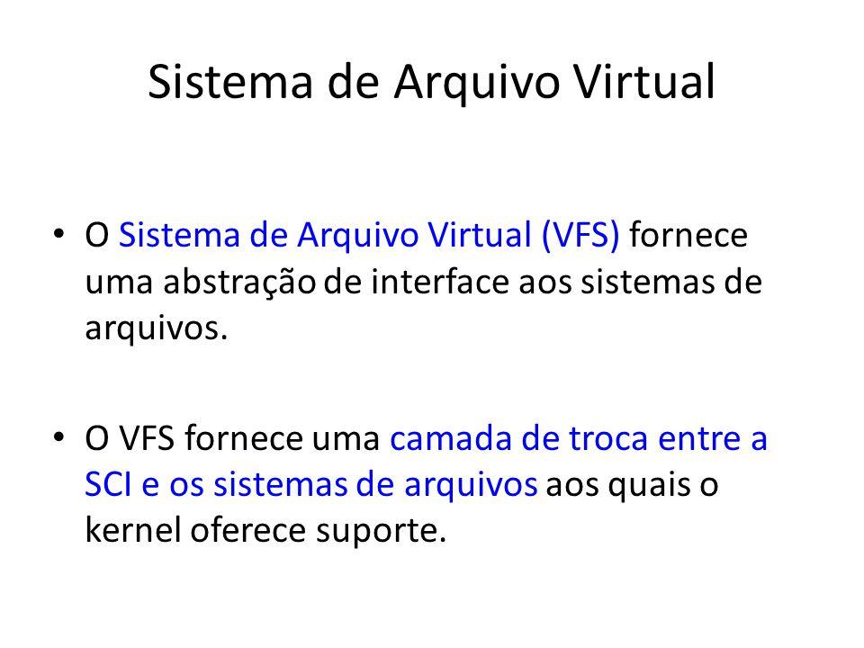 Sistema de Arquivo Virtual O Sistema de Arquivo Virtual (VFS) fornece uma abstração de interface aos sistemas de arquivos. O VFS fornece uma camada de