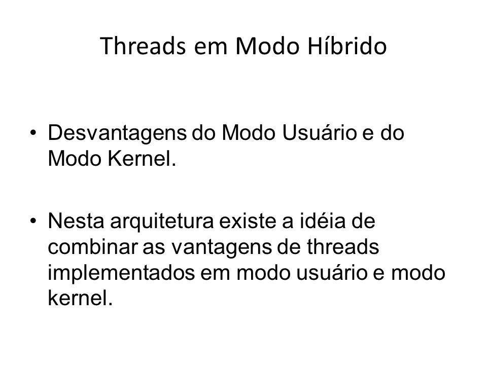 Desvantagens do Modo Usuário e do Modo Kernel. Nesta arquitetura existe a idéia de combinar as vantagens de threads implementados em modo usuário e mo