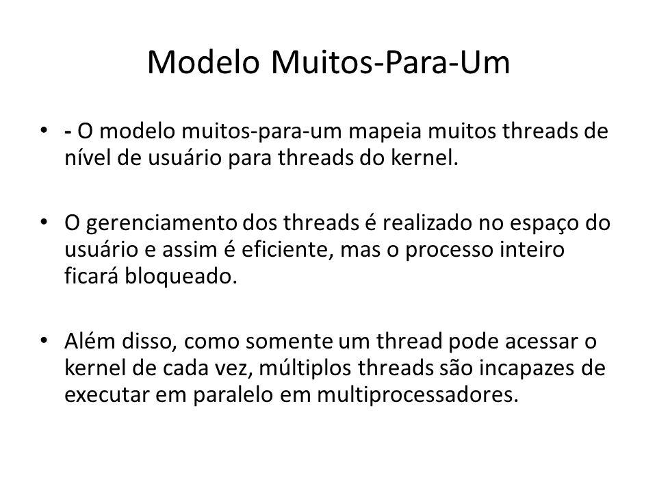 Modelo Muitos-Para-Um - O modelo muitos-para-um mapeia muitos threads de nível de usuário para threads do kernel. O gerenciamento dos threads é realiz