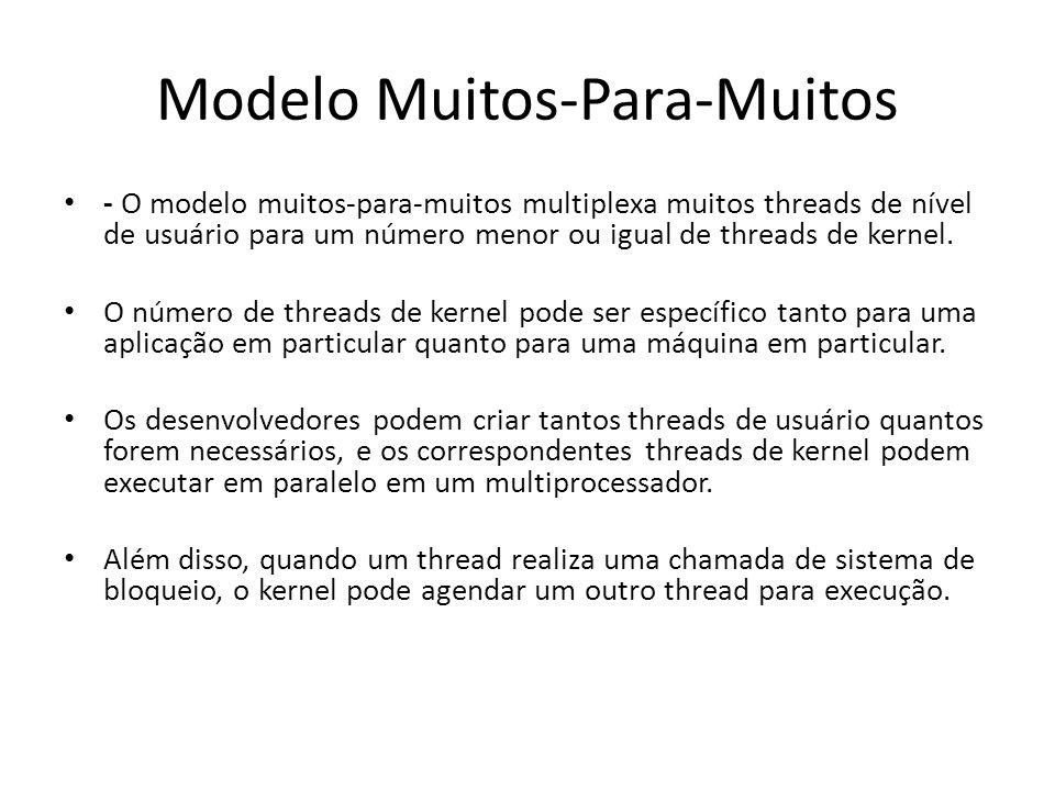 Modelo Muitos-Para-Muitos - O modelo muitos-para-muitos multiplexa muitos threads de nível de usuário para um número menor ou igual de threads de kern