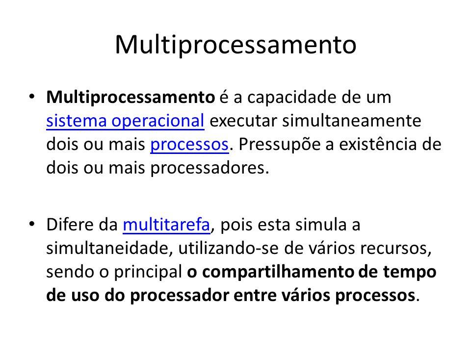 Multiprocessamento Multiprocessamento é a capacidade de um sistema operacional executar simultaneamente dois ou mais processos. Pressupõe a existência