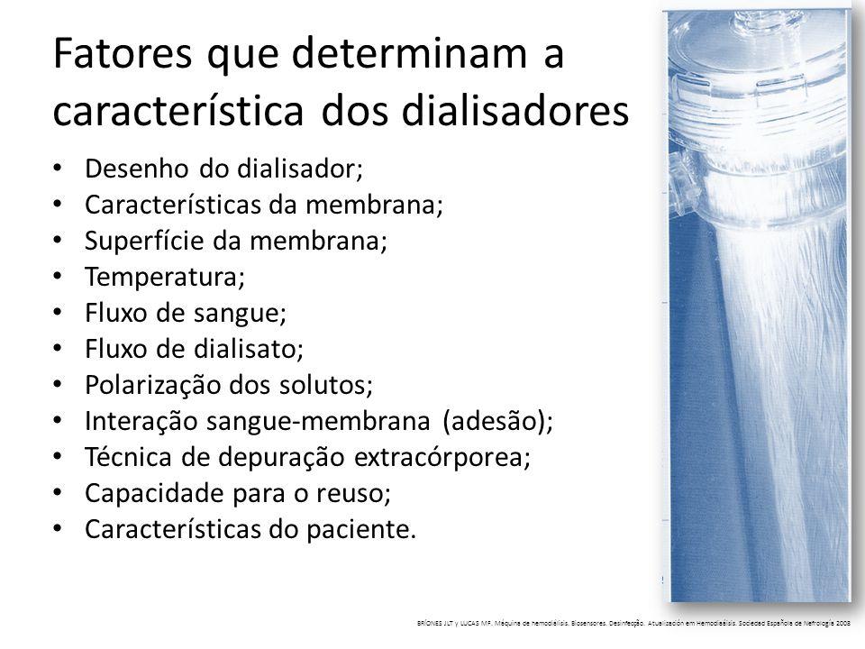 Fatores que determinam a característica dos dialisadores Desenho do dialisador; Características da membrana; Superfície da membrana; Temperatura; Flux