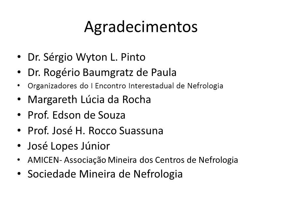 Agradecimentos Dr. Sérgio Wyton L. Pinto Dr. Rogério Baumgratz de Paula Organizadores do I Encontro Interestadual de Nefrologia Margareth Lúcia da Roc