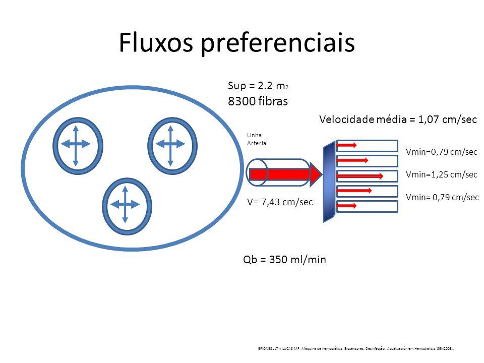 Fluxos preferenciais Sup = 2.2 m 2 8300 fibras Velocidade média = 1,07 cm/sec Vmin=0,79 cm/sec Vmin=1,25 cm/sec Vmin= 0,79 cm/sec Qb = 350 ml/min V= 7