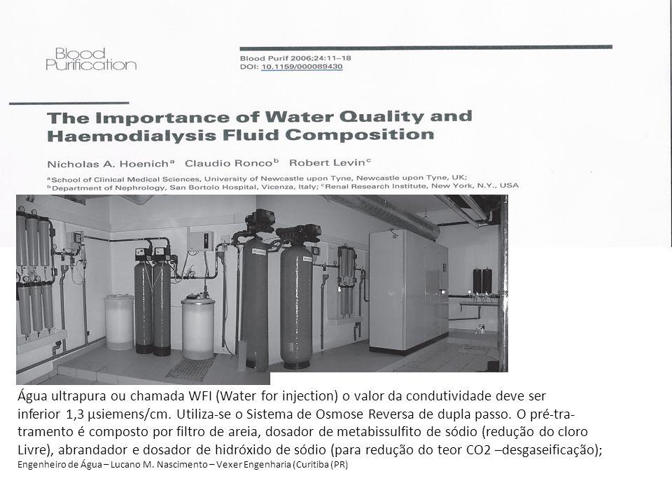 Água ultrapura ou chamada WFI (Water for injection) o valor da condutividade deve ser inferior 1,3 µsiemens/cm. Utiliza-se o Sistema de Osmose Reversa