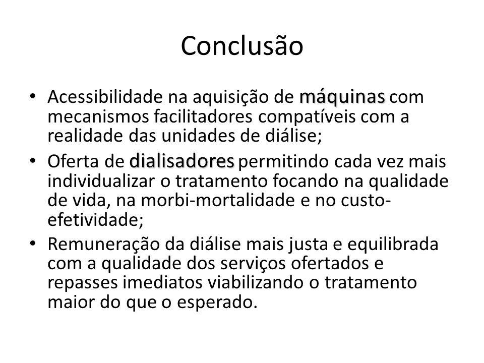 Conclusão máquinas Acessibilidade na aquisição de máquinas com mecanismos facilitadores compatíveis com a realidade das unidades de diálise; dialisado