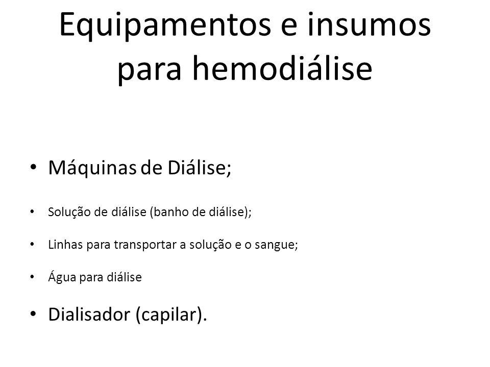 Equipamentos e insumos para hemodiálise Máquinas de Diálise; Solução de diálise (banho de diálise); Linhas para transportar a solução e o sangue; Água