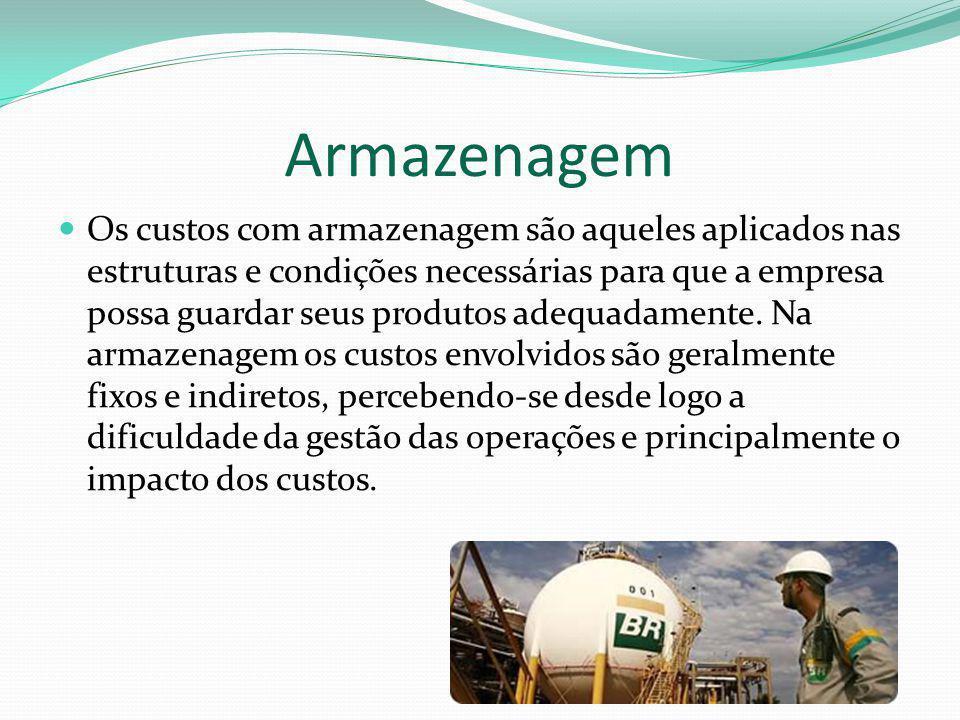 Armazenagem Os custos com armazenagem são aqueles aplicados nas estruturas e condições necessárias para que a empresa possa guardar seus produtos adeq