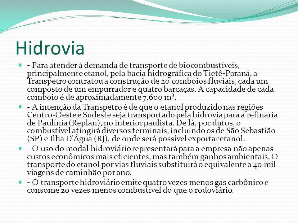 Hidrovia - Para atender à demanda de transporte de biocombustíveis, principalmente etanol, pela bacia hidrográfica do Tietê-Paraná, a Transpetro contr