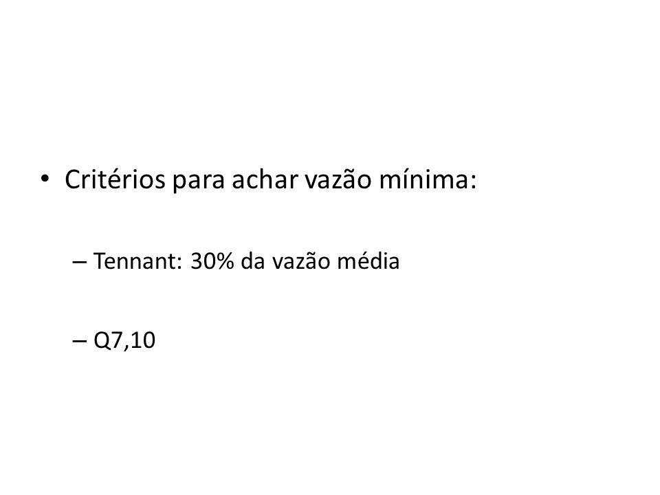 Critérios para achar vazão mínima: – Tennant: 30% da vazão média – Q7,10