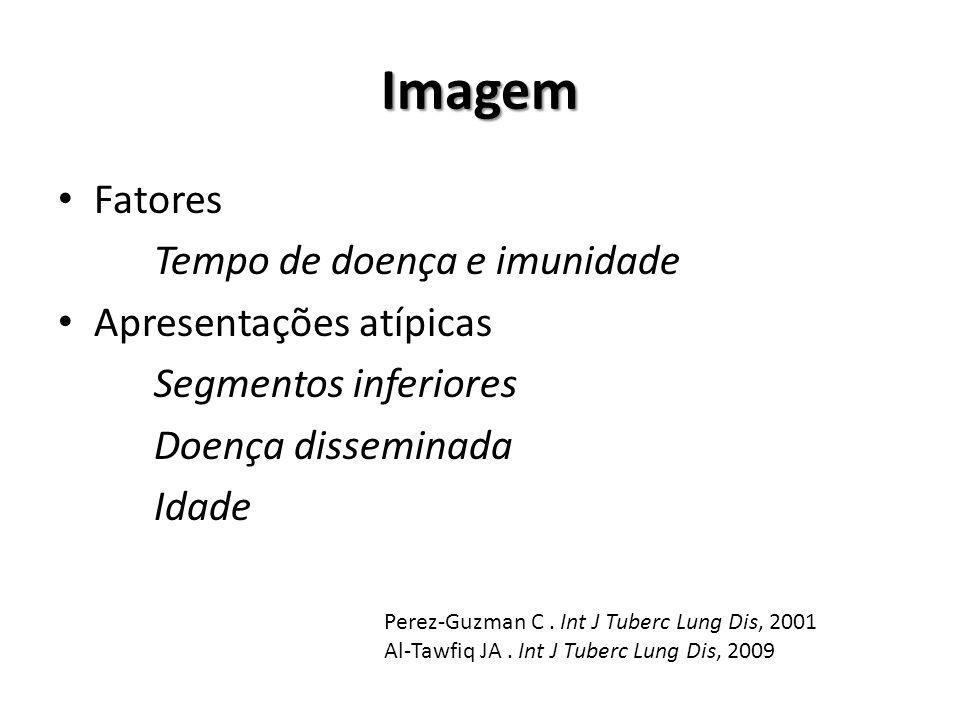 Imagem Fatores Tempo de doença e imunidade Apresentações atípicas Segmentos inferiores Doença disseminada Idade Perez-Guzman C. Int J Tuberc Lung Dis,