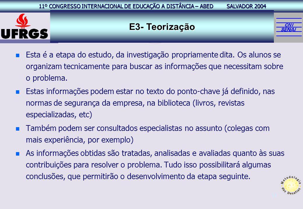 11º CONGRESSO INTERNACIONAL EAD – ABED SALVADOR 2004 11º CONGRESSO INTERNACIONAL DE EDUCAÇÃO A DISTÂNCIA – ABED SALVADOR 2004 11 n n Esta é a etapa do