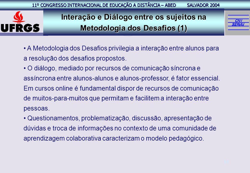 11º CONGRESSO INTERNACIONAL EAD – ABED SALVADOR 2004 11º CONGRESSO INTERNACIONAL DE EDUCAÇÃO A DISTÂNCIA – ABED SALVADOR 2004 14 A Metodologia dos Des