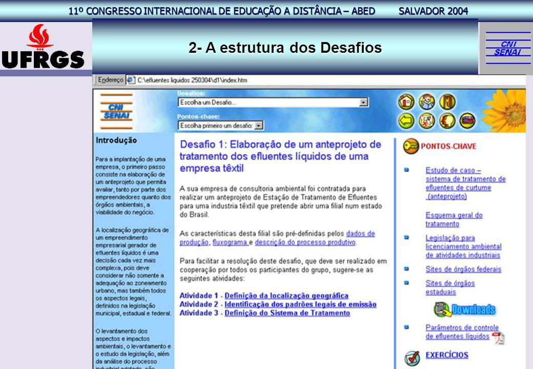 11º CONGRESSO INTERNACIONAL EAD – ABED SALVADOR 2004 11º CONGRESSO INTERNACIONAL DE EDUCAÇÃO A DISTÂNCIA – ABED SALVADOR 2004 18 2- A estrutura dos De