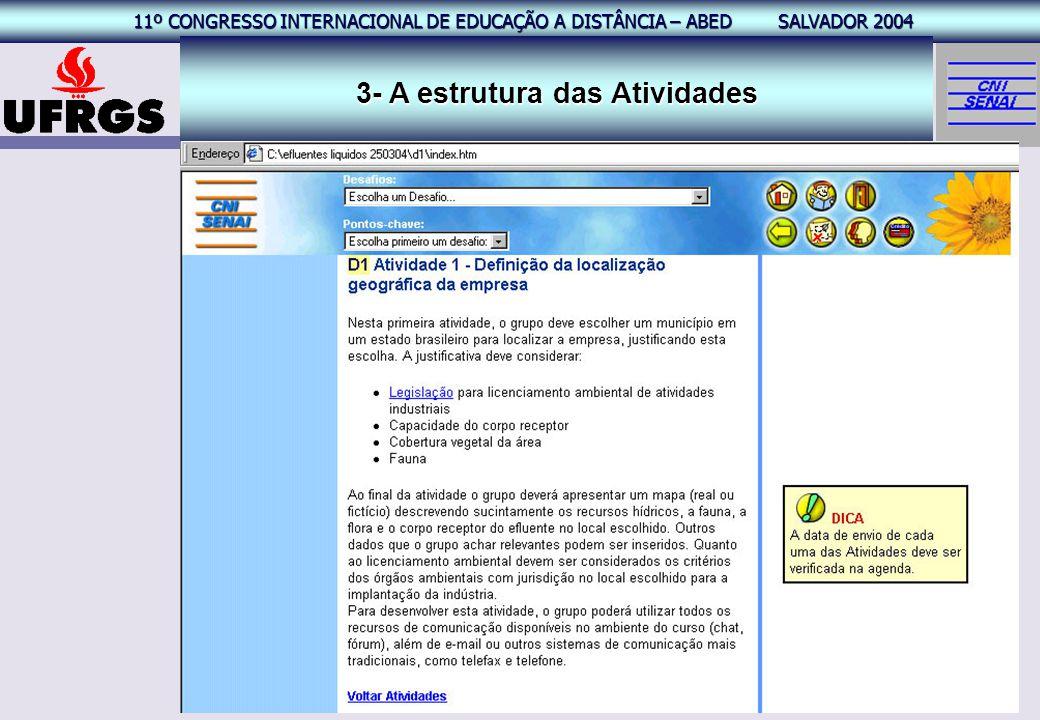 11º CONGRESSO INTERNACIONAL EAD – ABED SALVADOR 2004 11º CONGRESSO INTERNACIONAL DE EDUCAÇÃO A DISTÂNCIA – ABED SALVADOR 2004 19 3- A estrutura das At