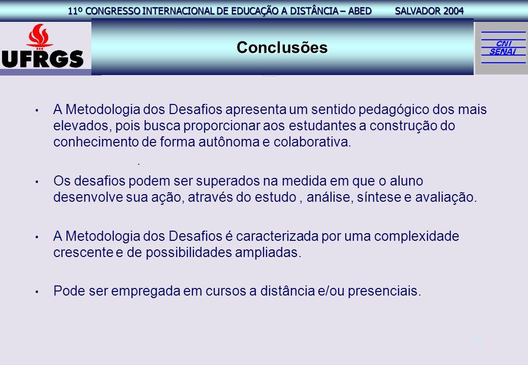 11º CONGRESSO INTERNACIONAL EAD – ABED SALVADOR 2004 11º CONGRESSO INTERNACIONAL DE EDUCAÇÃO A DISTÂNCIA – ABED SALVADOR 2004 24 Conclusões. A Metodol