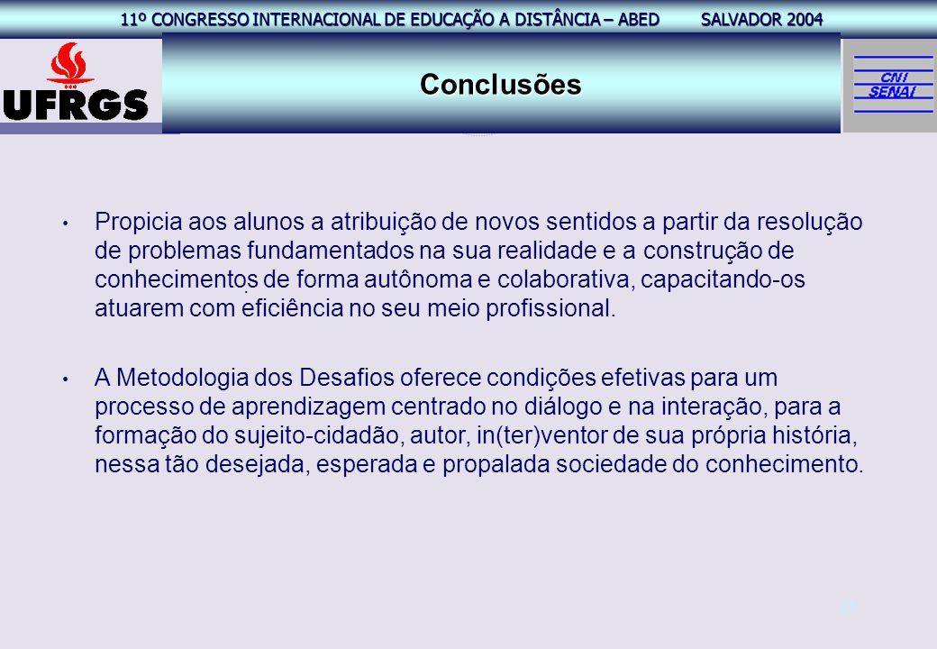 11º CONGRESSO INTERNACIONAL EAD – ABED SALVADOR 2004 11º CONGRESSO INTERNACIONAL DE EDUCAÇÃO A DISTÂNCIA – ABED SALVADOR 2004 25 Conclusões. Propicia