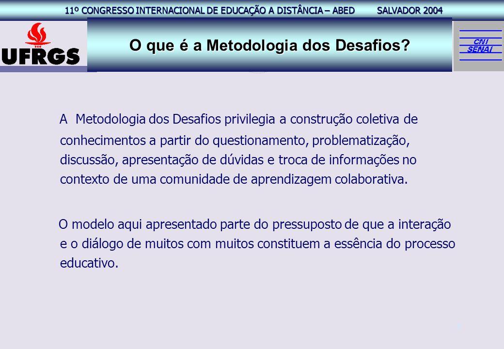 11º CONGRESSO INTERNACIONAL EAD – ABED SALVADOR 2004 11º CONGRESSO INTERNACIONAL DE EDUCAÇÃO A DISTÂNCIA – ABED SALVADOR 2004 4 O que é a Metodologia