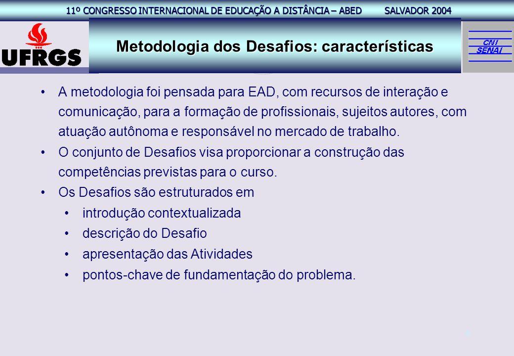 11º CONGRESSO INTERNACIONAL EAD – ABED SALVADOR 2004 11º CONGRESSO INTERNACIONAL DE EDUCAÇÃO A DISTÂNCIA – ABED SALVADOR 2004 6 A metodologia foi pens