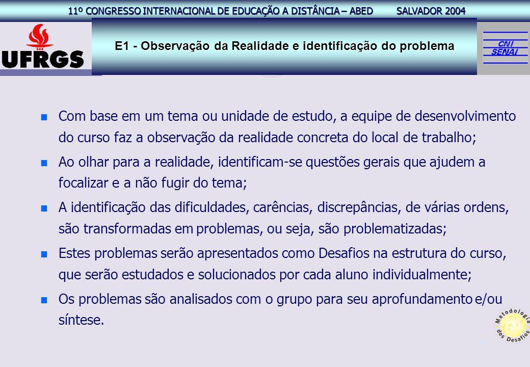 11º CONGRESSO INTERNACIONAL EAD – ABED SALVADOR 2004 11º CONGRESSO INTERNACIONAL DE EDUCAÇÃO A DISTÂNCIA – ABED SALVADOR 2004 9 n n Com base em um tem