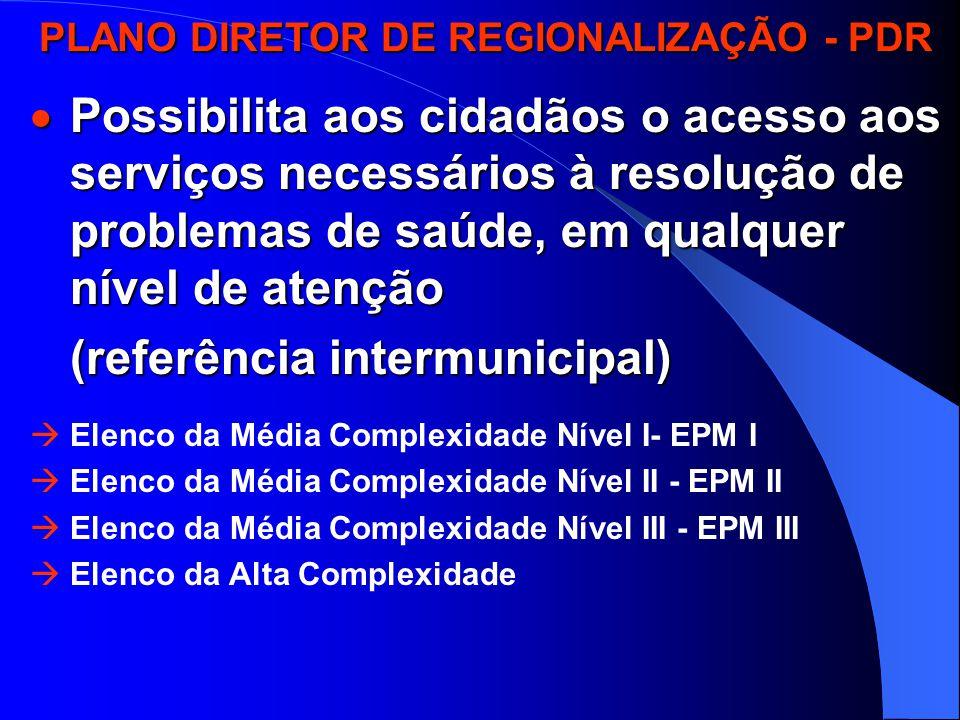 PLANO DIRETOR DE REGIONALIZAÇÃO - PDR PLANO DIRETOR DE REGIONALIZAÇÃO - PDR  Possibilita aos cidadãos o acesso aos serviços necessários à resolução de problemas de saúde, em qualquer nível de atenção (referência intermunicipal) (referência intermunicipal)  Elenco da Média Complexidade Nível I- EPM I  Elenco da Média Complexidade Nível II - EPM II  Elenco da Média Complexidade Nível III - EPM III  Elenco da Alta Complexidade