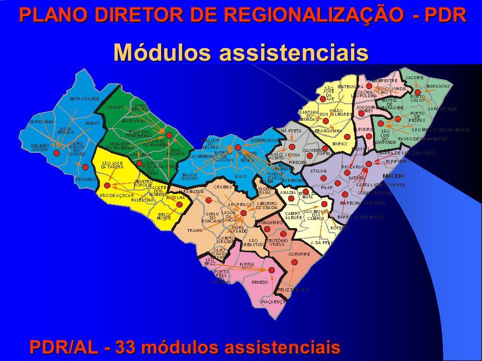 PLANO DIRETOR DE REGIONALIZAÇÃO - PDR PLANO DIRETOR DE REGIONALIZAÇÃO - PDR PLANO DIRETOR DE REGIONALIZAÇÃO - PDR Módulos assistenciais PLANO DIRETOR DE REGIONALIZAÇÃO - PDR Módulos assistenciais PDR/AL - 33 módulos assistenciais