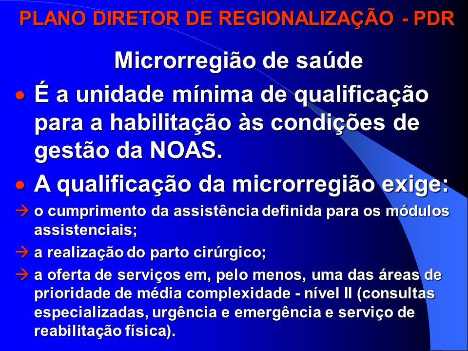 PLANO DIRETOR DE REGIONALIZAÇÃO - PDR PLANO DIRETOR DE REGIONALIZAÇÃO - PDR Microrregião de saúde  É a unidade mínima de qualificação para a habilitação às condições de gestão da NOAS.