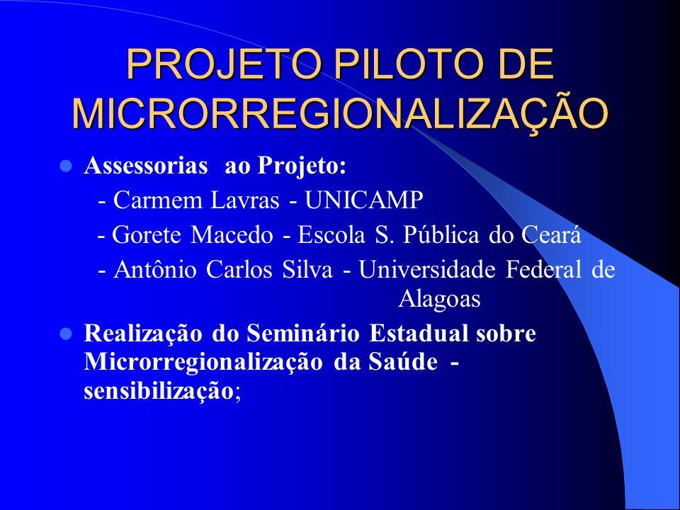 PROJETO PILOTO DE MICRORREGIONALIZAÇÃO Assessorias ao Projeto: - Carmem Lavras - UNICAMP - Gorete Macedo - Escola S.