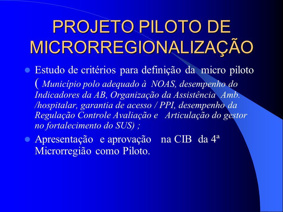 Estudo de critérios para definição da micro piloto ( Município polo adequado à NOAS, desempenho do Indicadores da AB, Organização da Assistência Amb.