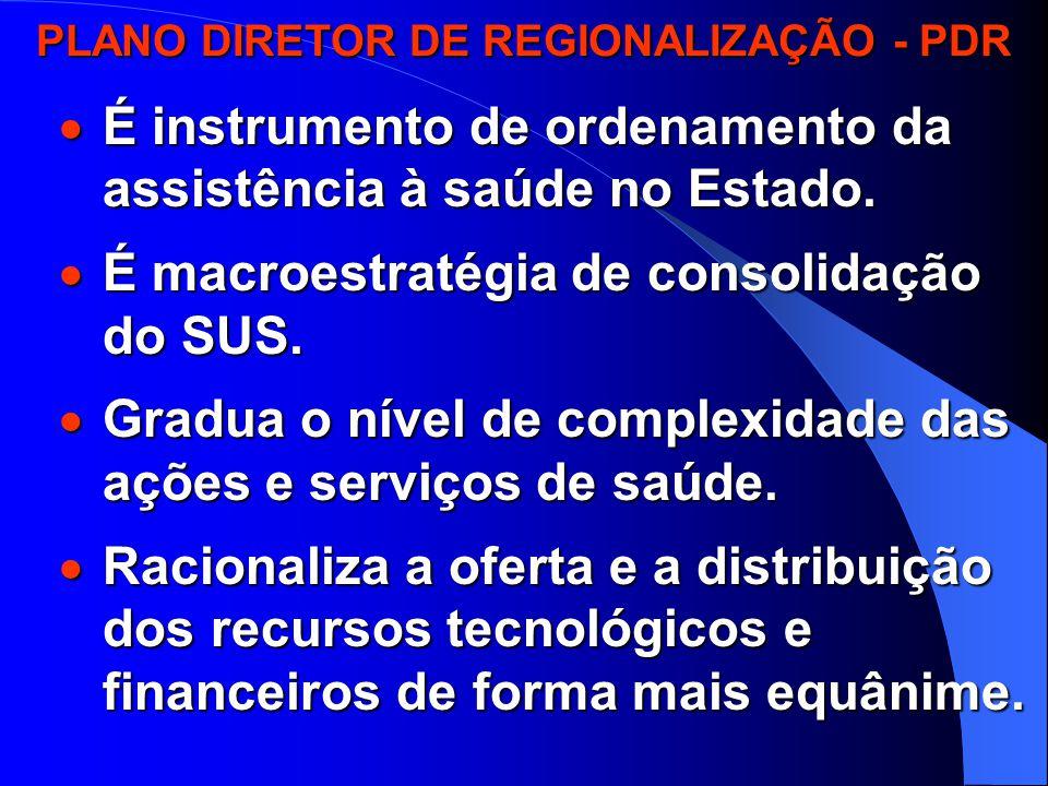 PLANO DIRETOR DE REGIONALIZAÇÃO - PDR  É instrumento de ordenamento da assistência à saúde no Estado.