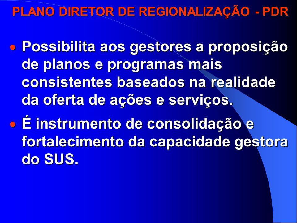 PLANO DIRETOR DE REGIONALIZAÇÃO - PDR PLANO DIRETOR DE REGIONALIZAÇÃO - PDR  O PDR organiza o Estado em regiões, microrregiões e módulos assistenciais.