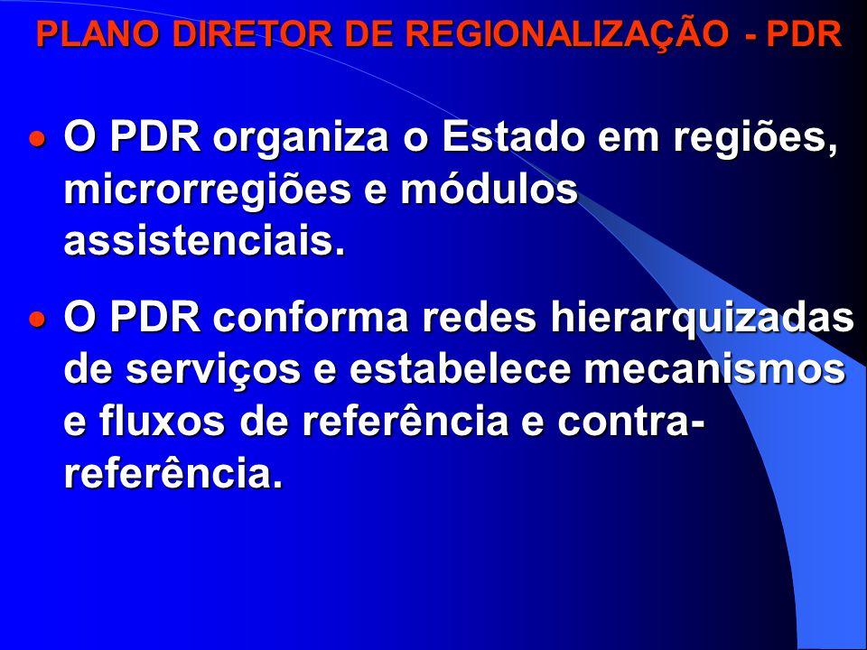 PLANO DIRETOR DE REGIONALIZAÇÃO - PDR PLANO DIRETOR DE REGIONALIZAÇÃO - PDR  Amplia as responsabilidades dos municípios na atenção básica:  Assistência no pré-natal, parto e puerpério.