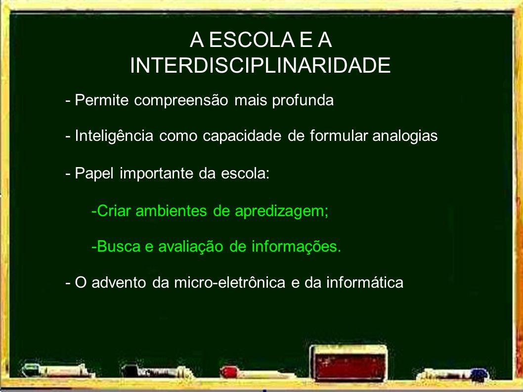 A ESCOLA E A INTERDISCIPLINARIDADE - Permite compreensão mais profunda - Inteligência como capacidade de formular analogias - Papel importante da escola: -Criar ambientes de apredizagem; -Busca e avaliação de informações.
