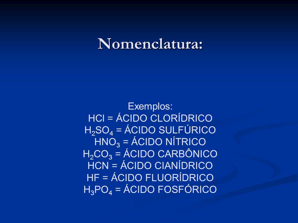 Nomenclatura: Exemplos: HCl = ÁCIDO CLORÍDRICO H 2 SO 4 = ÁCIDO SULFÚRICO HNO 3 = ÁCIDO NÍTRICO H 2 CO 3 = ÁCIDO CARBÔNICO HCN = ÁCIDO CIANÍDRICO HF =