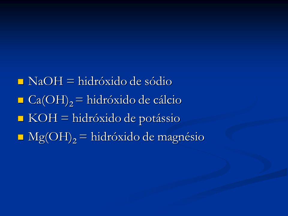 NaOH = hidróxido de sódio NaOH = hidróxido de sódio Ca(OH) 2 = hidróxido de cálcio Ca(OH) 2 = hidróxido de cálcio KOH = hidróxido de potássio KOH = hi