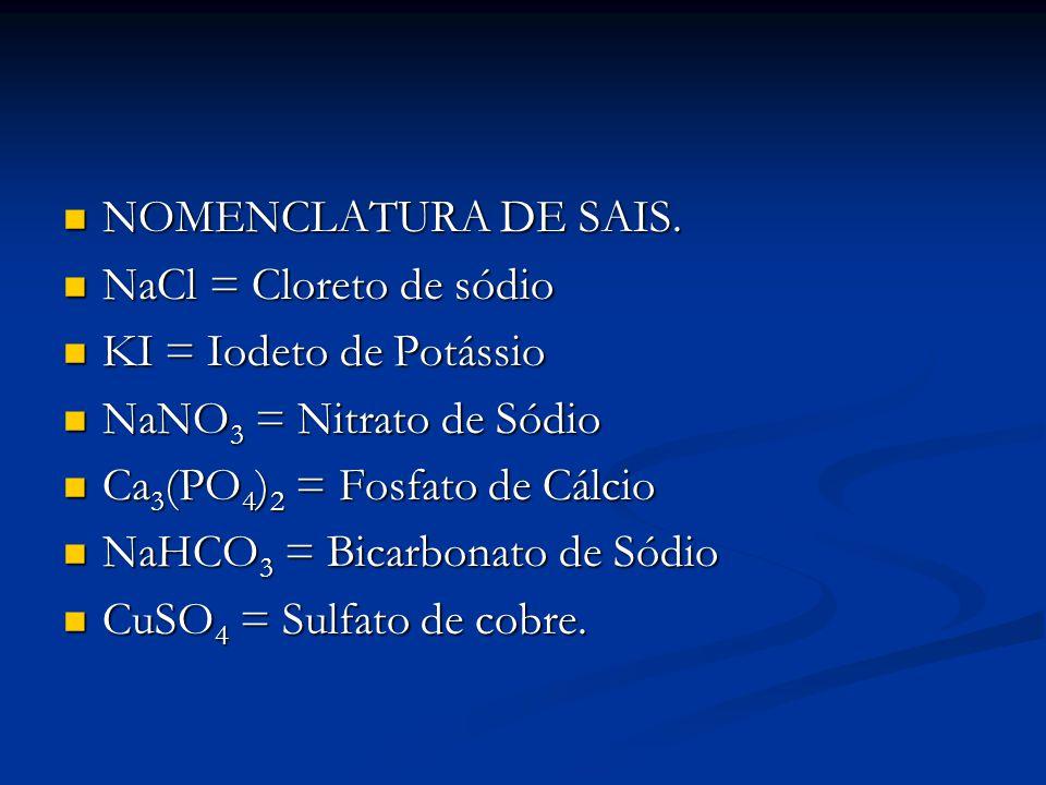 NOMENCLATURA DE SAIS. NOMENCLATURA DE SAIS. NaCl = Cloreto de sódio NaCl = Cloreto de sódio KI = Iodeto de Potássio KI = Iodeto de Potássio NaNO 3 = N