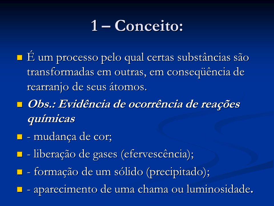 1 – Conceito: É um processo pelo qual certas substâncias são transformadas em outras, em conseqüência de rearranjo de seus átomos. É um processo pelo