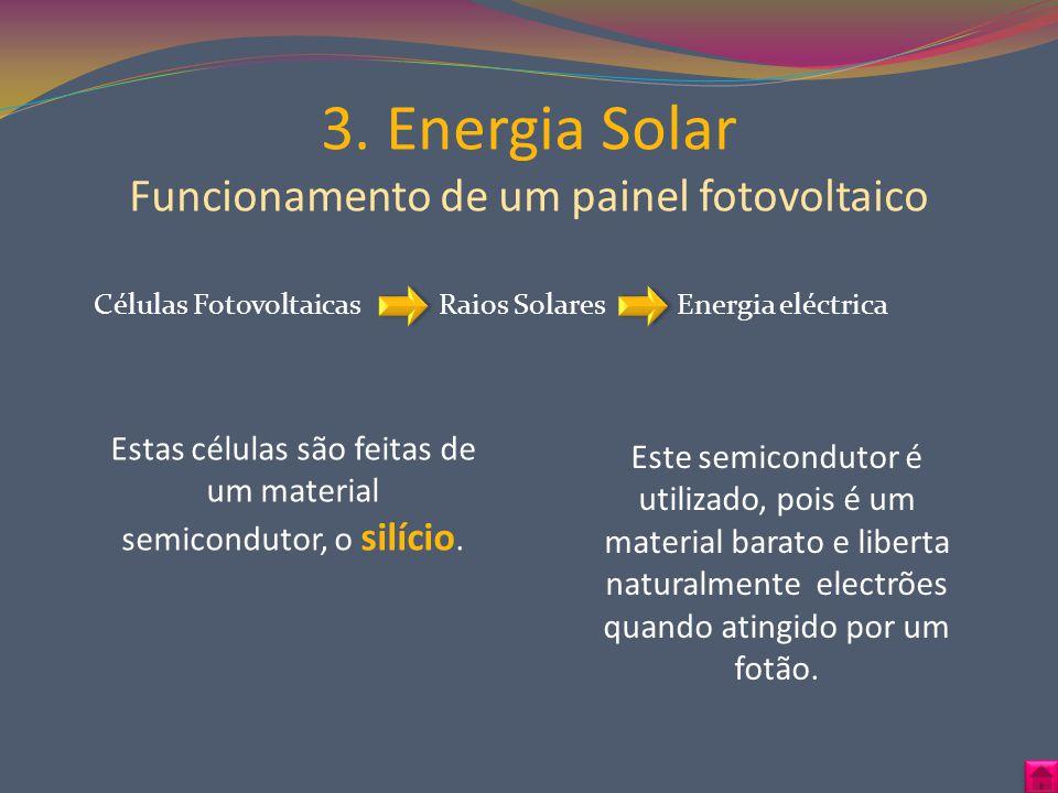 3. Energia Solar Funcionamento de um painel fotovoltaico Estas células são feitas de um material semicondutor, o silício. Este semicondutor é utilizad