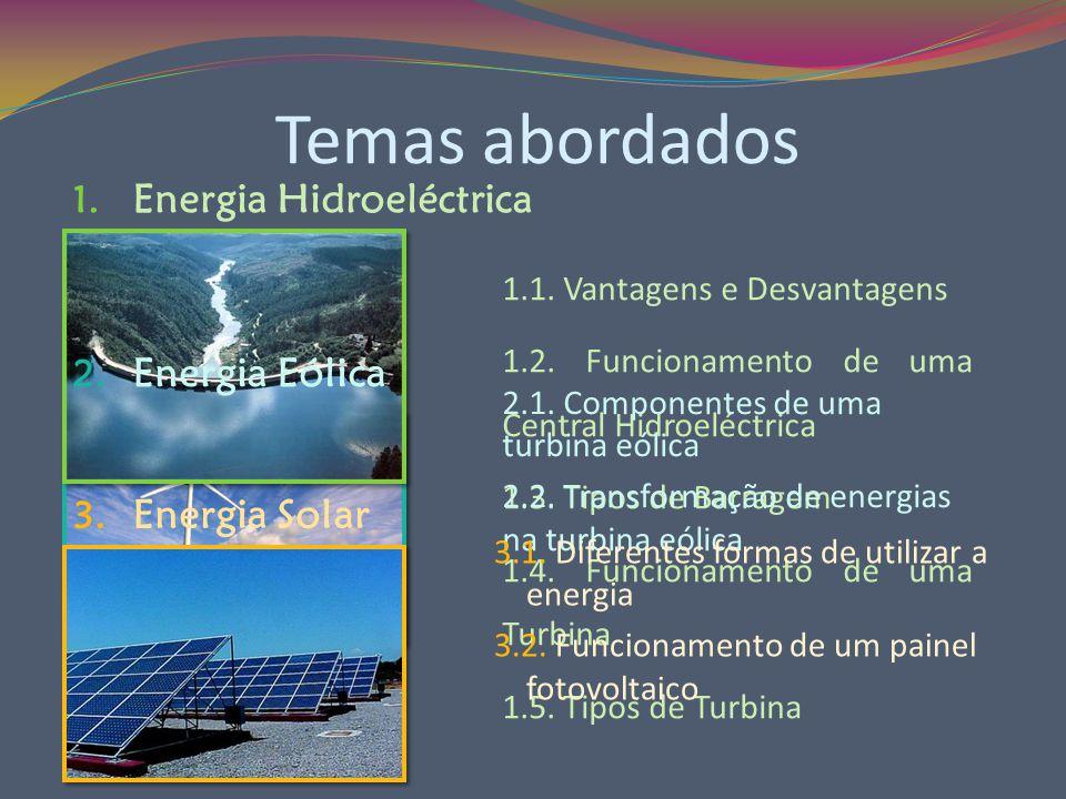 Temas abordados 3. Energia Solar Energia Solar 2. Energia Eólica Energia Eólica 1. Energia Hidroeléctrica Energia Hidroeléctrica 1.1. Vantagens e Desv