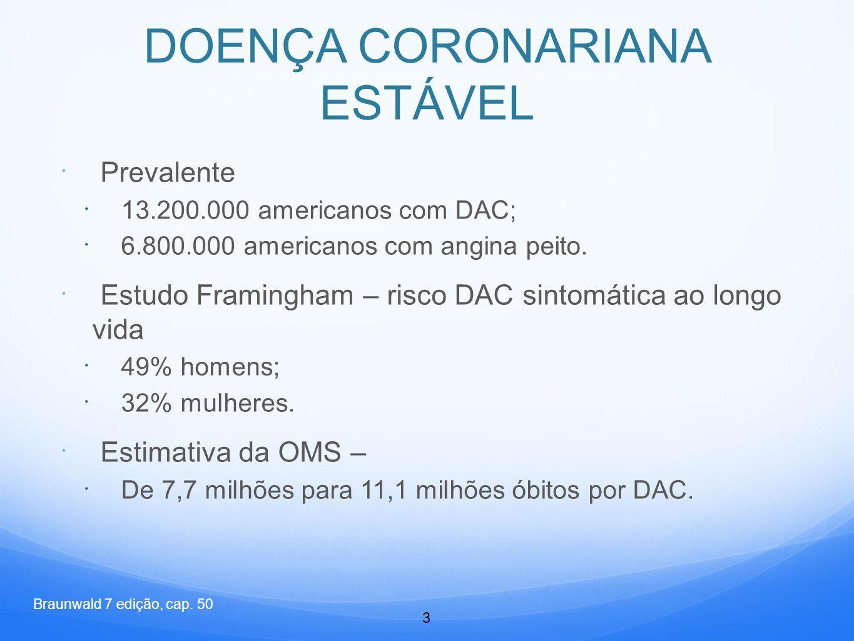  Prevalente  13.200.000 americanos com DAC;  6.800.000 americanos com angina peito.