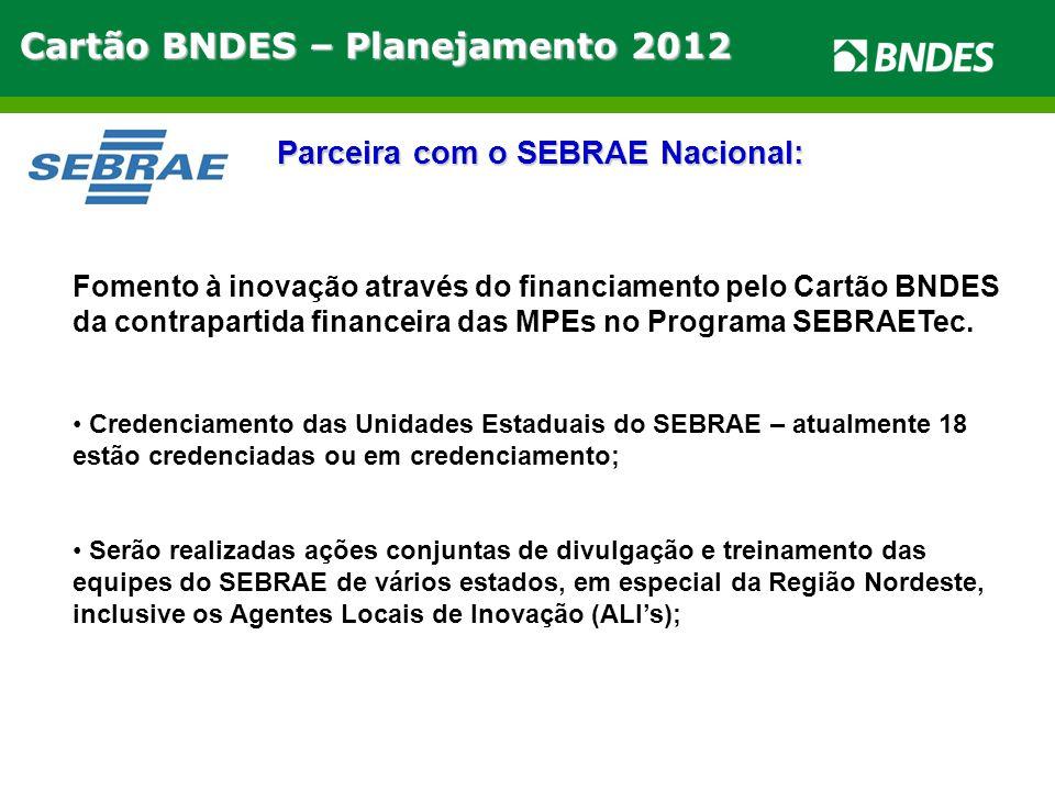Cartão BNDES – Planejamento 2012 Parceira com o SEBRAE Nacional: Fomento à inovação através do financiamento pelo Cartão BNDES da contrapartida financeira das MPEs no Programa SEBRAETec.
